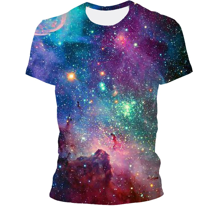 Starry sky style men's T-shirt 3D creative starry sky graphics short-sleeved summer casual tops fashion round neck shirt apparel