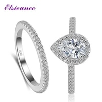 luxury wedding bands 925 sterling silver 5x7mm pear shape engagement gemstone ring set women white gold color fine jewelry rings