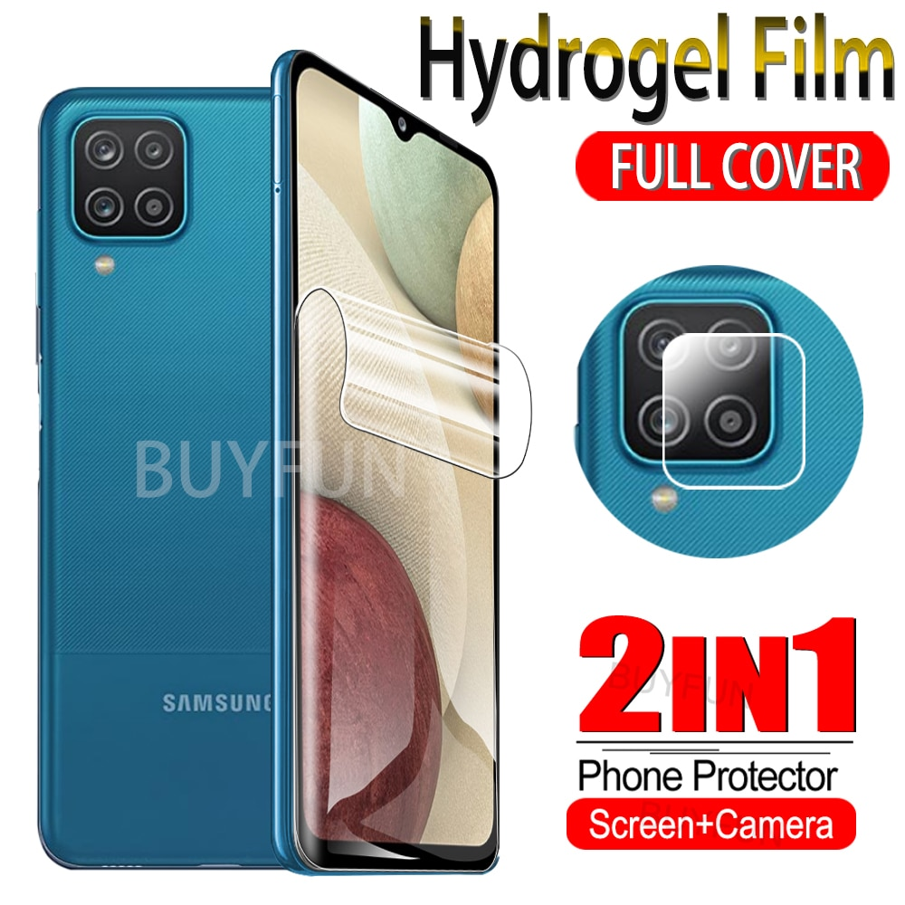 2IN1 Front+Camera Lens Hydrogel Film For Samsung Galaxy A12 A21S A21 Screen Protector Samsang A 12 21S Water Gel Film Not Glass