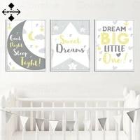 Dessin anime etoiles et lune mur Art affiche lettres doux reves toile photo impression nordique peinture pour la maison interieur chambre decor