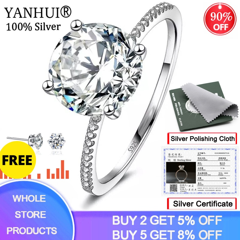 YANHUI With Certificate Solitaire 3 Carat Ring Original Silver 925 Jewelry Natural 9mm Zirconia Diamond Wedding Rings For Women 95% off with certificate luxury solitaire 2 0ct zirconia diamond ring 925 solid silver 18k white gold wedding rings for women