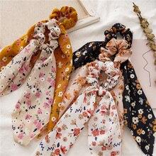 DIY Floral Print Bow Long Ribbon Ponytail Scarf Hair Tie Scrunchies Women Girls Elastic Hair Bands Hair Accessories