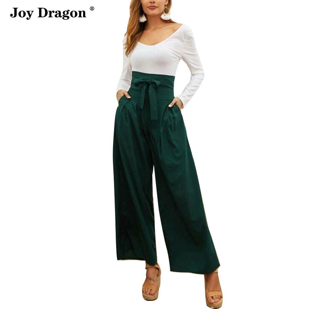 women wide high waisted pants pantalones de mujer  cintura alta vintage casual elegant green blue red womens fashion 2020