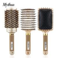 salon hair styling brush kit gold ceramic round boar bristle comb antistatic detangling brush massage comb hairdressing tools