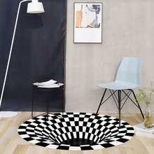 Druk 3D dywan dywan trójwymiarowy czarno-biały Stereo Vision Mat okrągły salon wycieraczka stolik do herbaty Sofa Illusion dywan