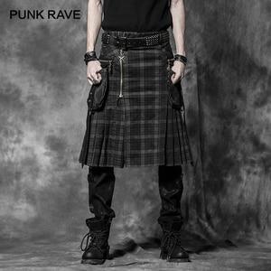 PUNK RAVE Punk Rock Trousers Mens Fashion Pants Cargo Personality Scottish Kilts Check Pattern Long Half Skirts