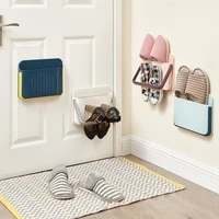 household wall mounted shoe rack creative diy shoe storage rack punch free slippers holder high heels sports shoes storage bag