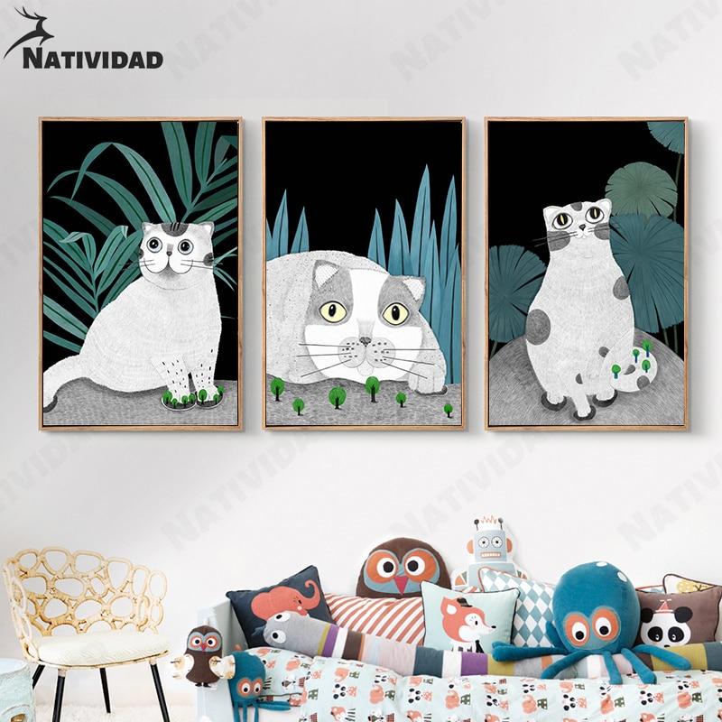 AliExpress - Cartoon Animal Print Poster Cute Cat Children Bedroom Decoration Painting Canvas Print Poster Artist Home Decoration Wall Poster