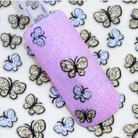 popular korean style 3d glitter butterfly nail art stickers decals nail tips decoration