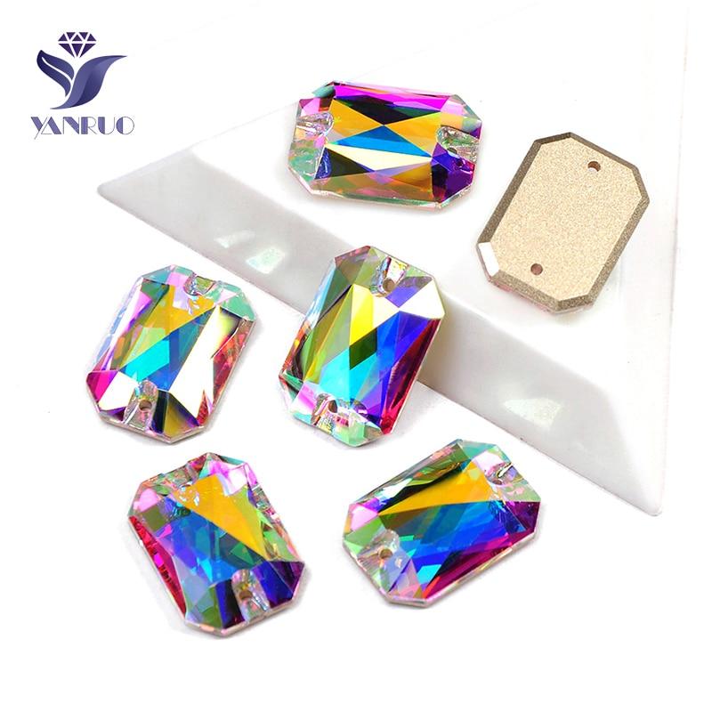 YANRUO 3252 All Sizes AB Emerald Cut Sew On Stones Strass Glass Gems Flat Back Rhinestones Crystals For Dress Decoration