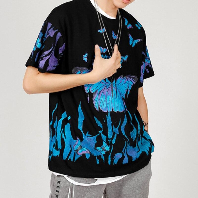 2021 Men T Shirt Cool Design Hip Hop Blue Flame Butterfly Dark Streetwear Harajuku Summer Short Slee