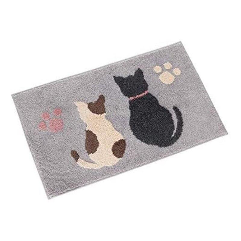 سجادة قطة كرتونية ماصة ، لطيفة ، متدفقة ناعمة ، للمنزل ، غرفة النوم ، غرفة المعيشة ، الحمام ، غير قابلة للانزلاق