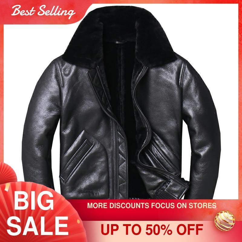 2021 Black Men Military Pilot Shearling Jacket Plus Size XXXXL Slim Fit Winter Thick Russian Aviator Genuine Coat FREE SHIPPING