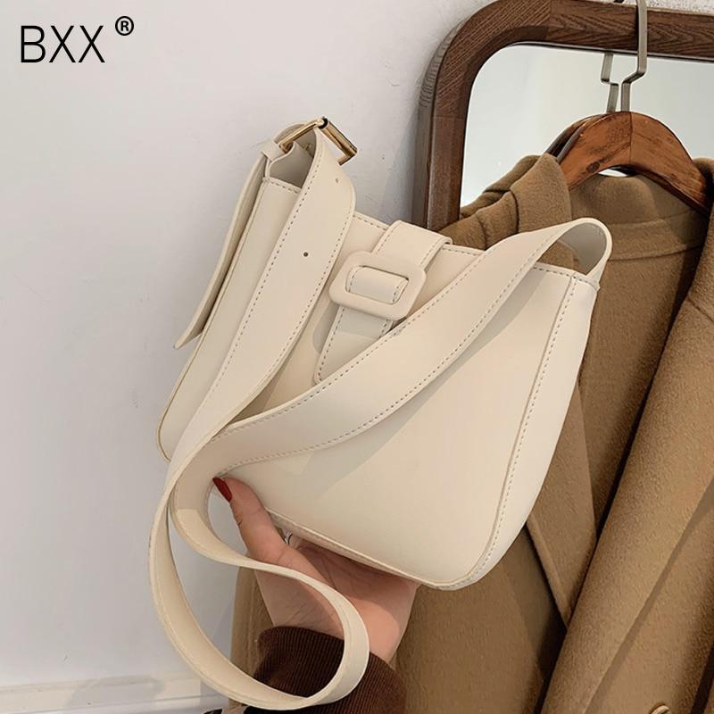 [BXX] Designer Small PU Leather Crossbody Bucket Bags For Women 2021 Trend Handbag Women's Branded Trending Shoulder Bag HQ602