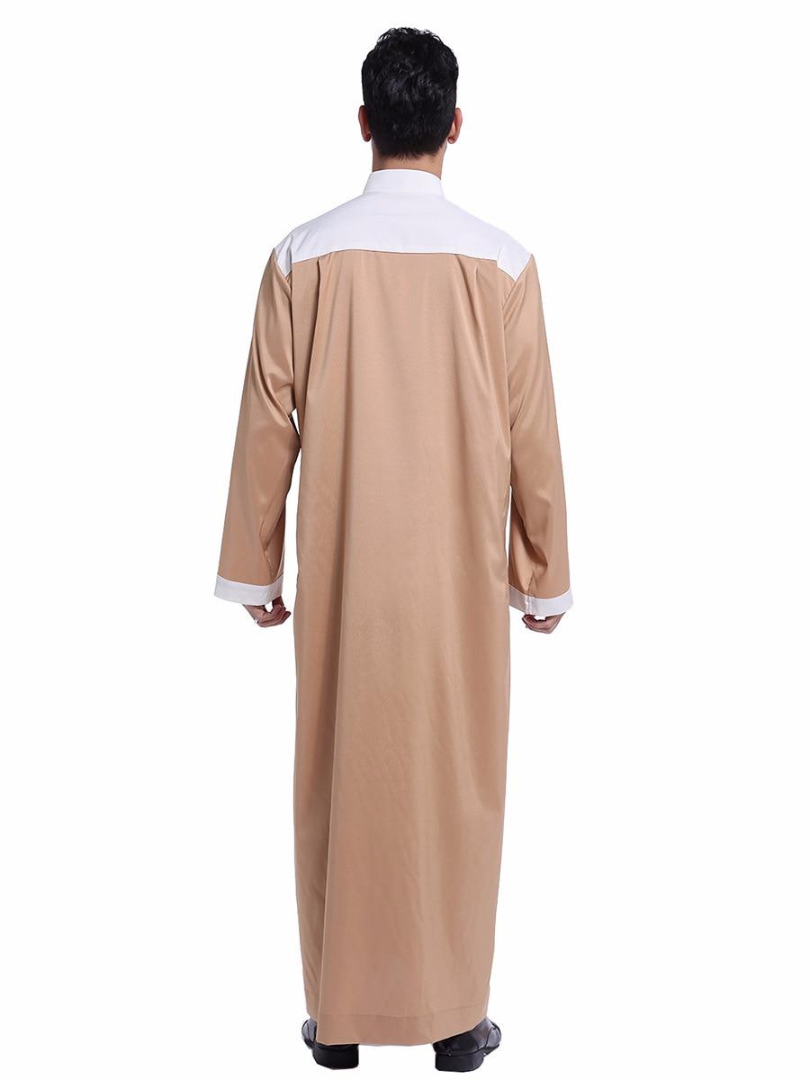 Muslim Islamic Clothing Men Jubba Thobe Kimono Long Robe Saudi Musulman Stand Collar Abaya Caftan Islam Dubai Arab Long Dress