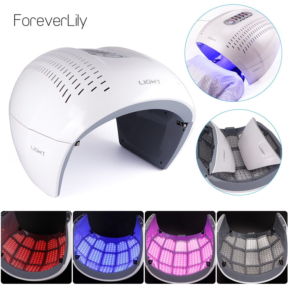 Round Foldable 4 Color PDT LED Photon Light Therapy Facial Mask Skin Rejuvenation Acne Remover Anti