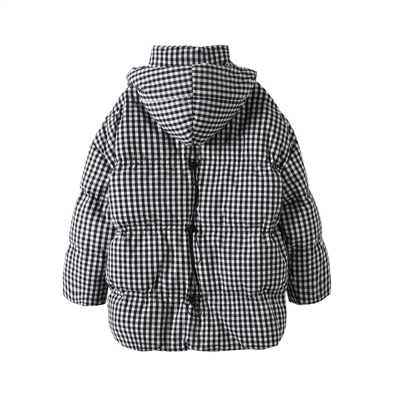 Women Parkas 2021 New Winter Fashion Puffer Coat 90% Loose White Duck Down Jacket Thick Warm Plaid Hooded Snow Outwear Pocket