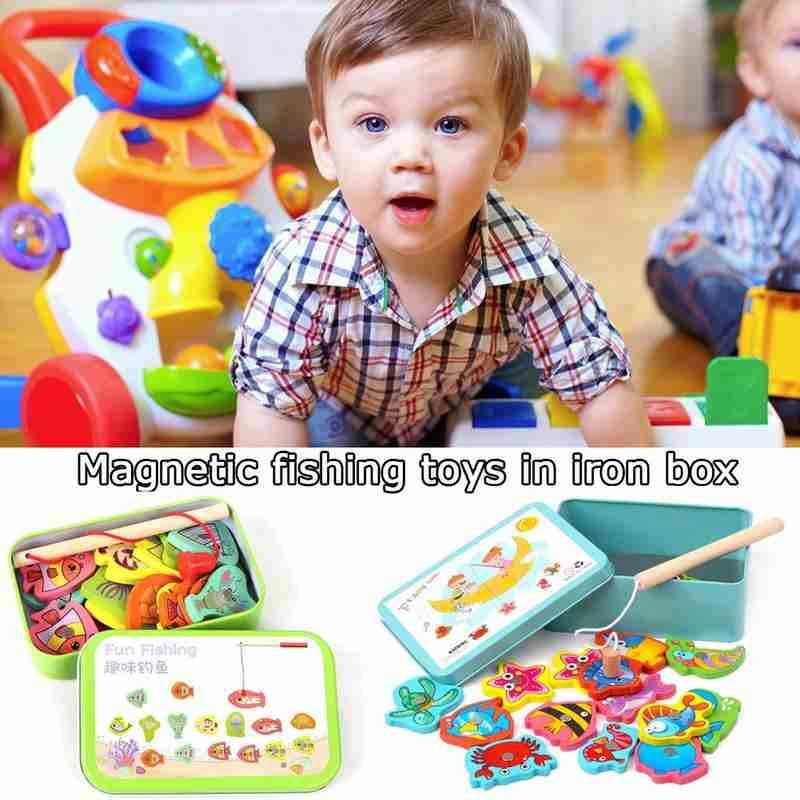 15Pcs Wooden Magnetic Fishing Toy Fish Game Educational Fishing Toy Set For Kid Early Education Toy