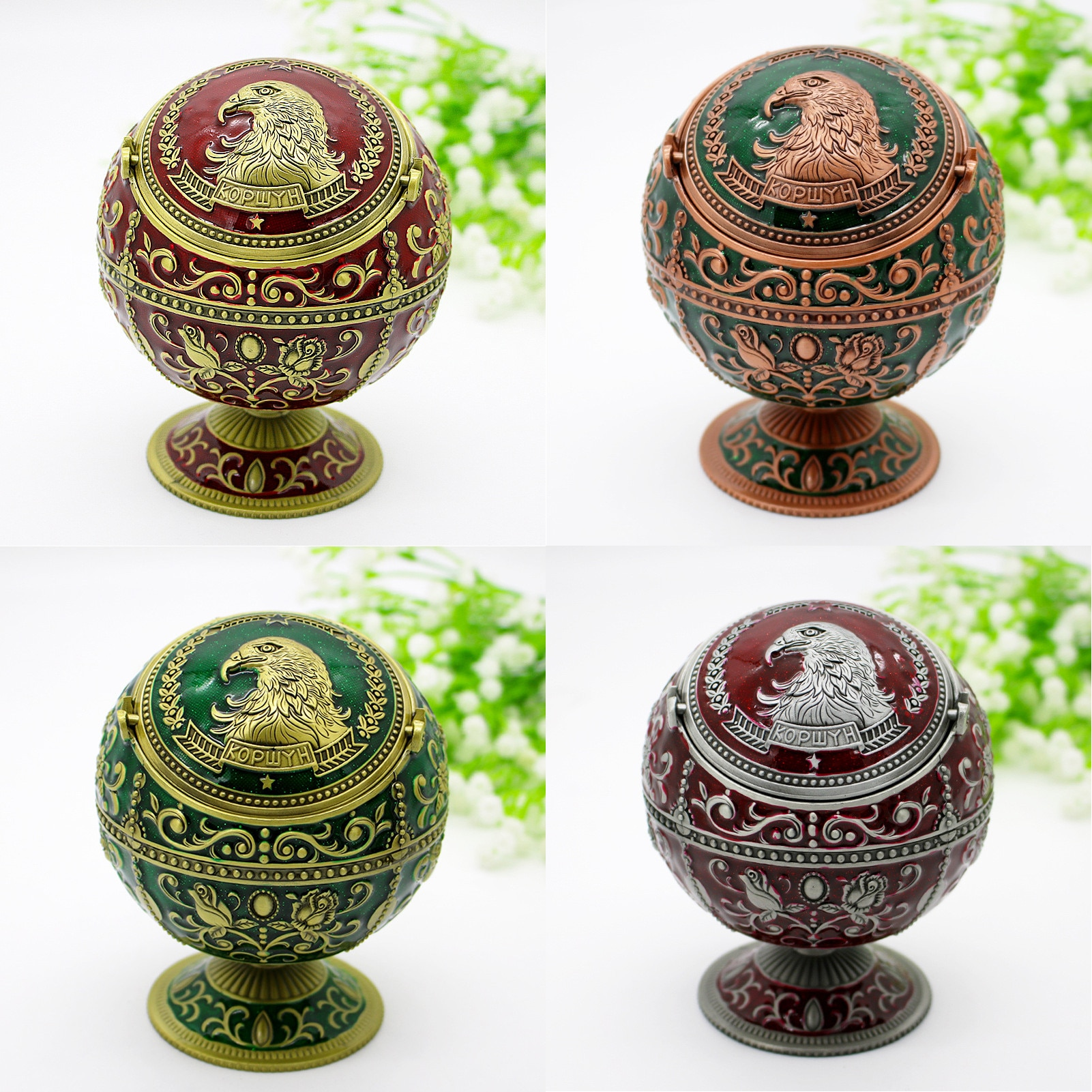 Vintage Metal Ashtray Portable Windproof Smoking with Lid Unique Home Decoration Craft Gift Accessories
