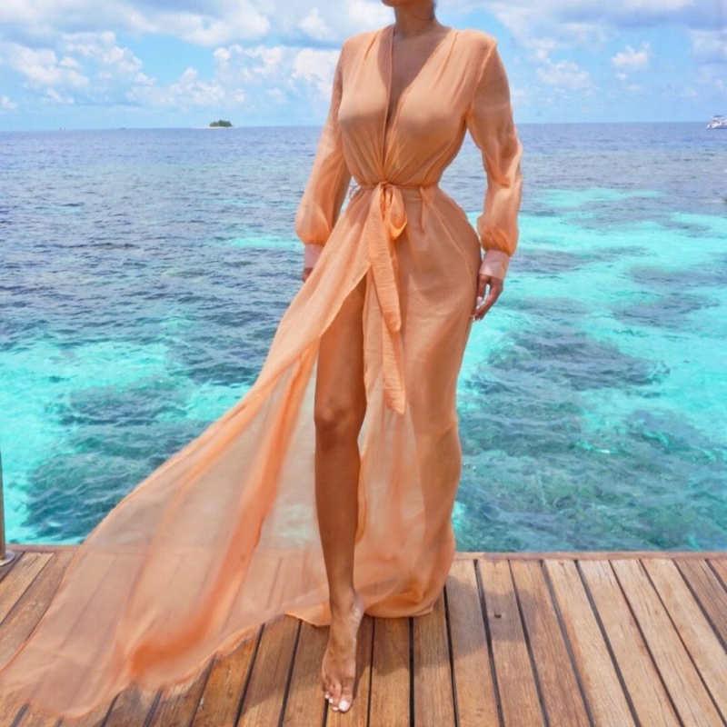 2020 mujeres de gasa Kimono Beach Cover Up vestido largo túnica Pareos Bikinis cubrir ups mujer traje de baño Plage ropa de playa