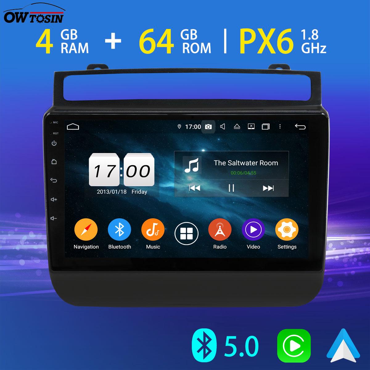 "9 ""PX6 4 + 64 Bluetooth 5,0 Tethering Android reproductor Multimedia para auto Volkswagen VW Touareg navegación GPS 4G LTE Carplay Radio"