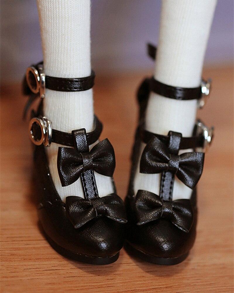 BJD chaussures de poupée sont adaptés pour 1/3 1/4 robe nœud papillon double bouton chaussures à talons hauts petites chaussures poupée accessoires