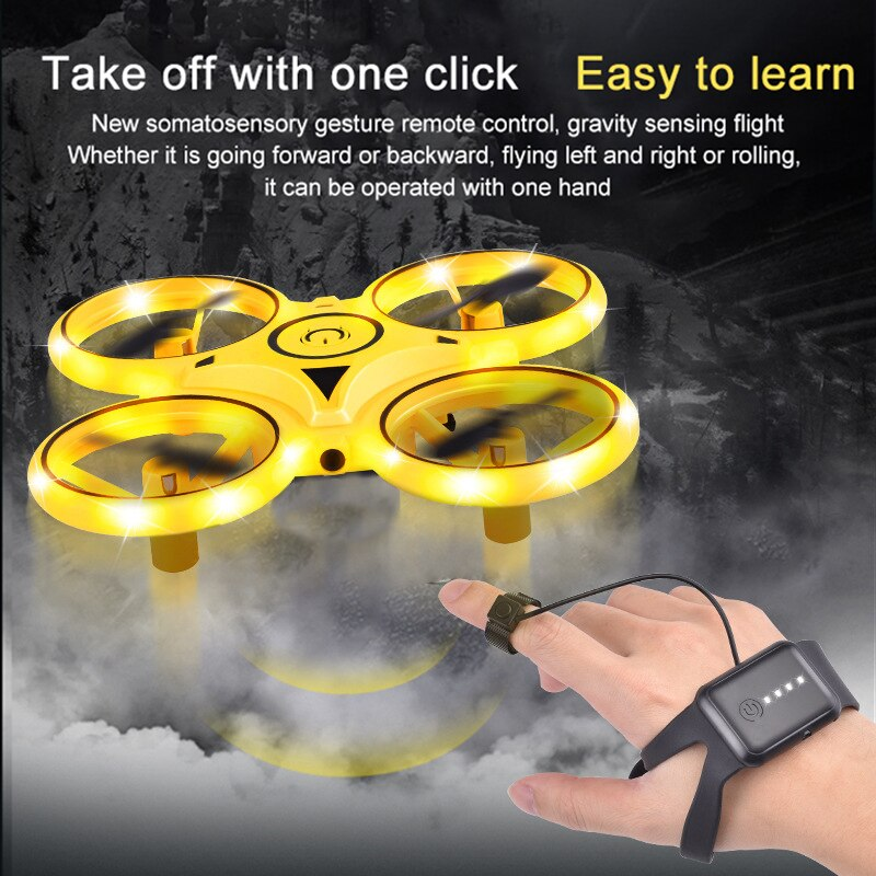 UFO Mini Quadcopter Induction Kids Drone Smart Watch Remote Sensing Gesture Aircraft Hand Control Dr