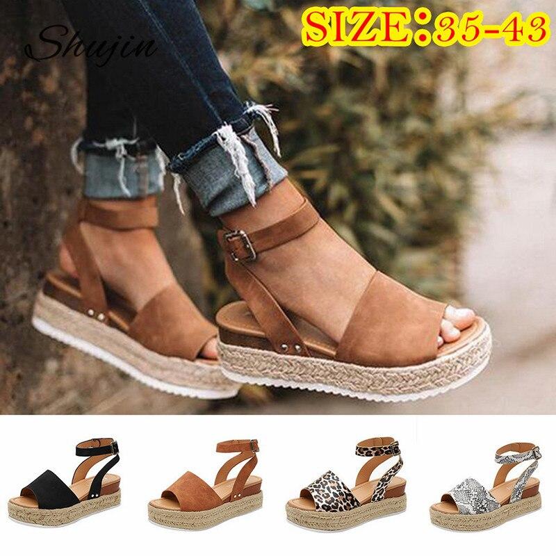 Sandalias de verano para mujer, sandalias de leopardo con cuña en el tobillo, con plataforma, talón descubierto, alpargata, zapatos de playa informales para mujer