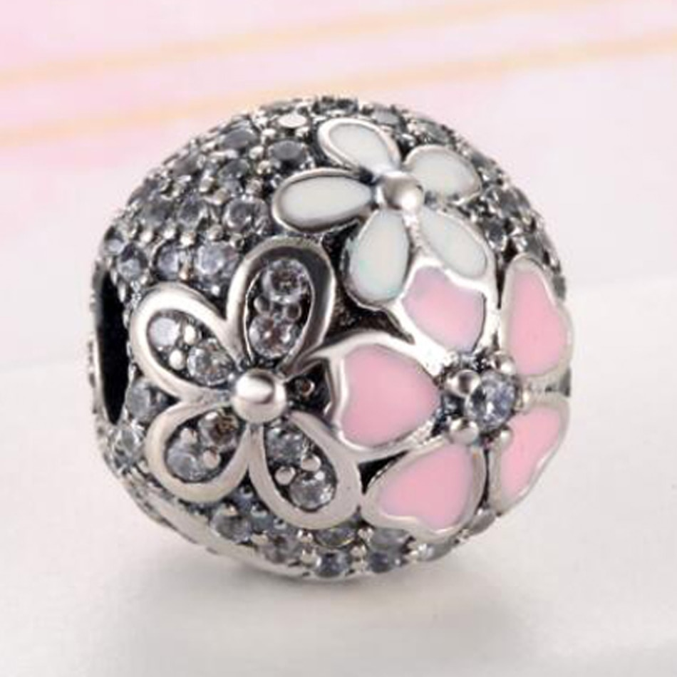 S925  Bead DIY Jewelry Poetic Daisy Clear CZ Flower Clips Stoppers Charm fit Pandora Bracelets Bangle