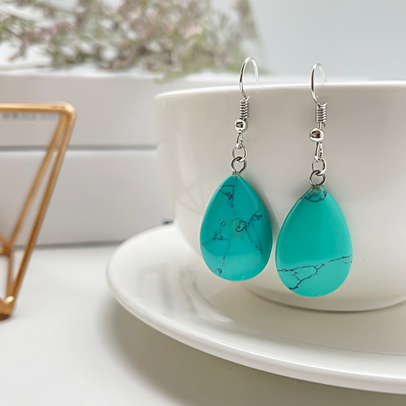Korean Style Natural Stone Earrings Crystal Turquoise Water Drope Earrings for Women Stainless Steel