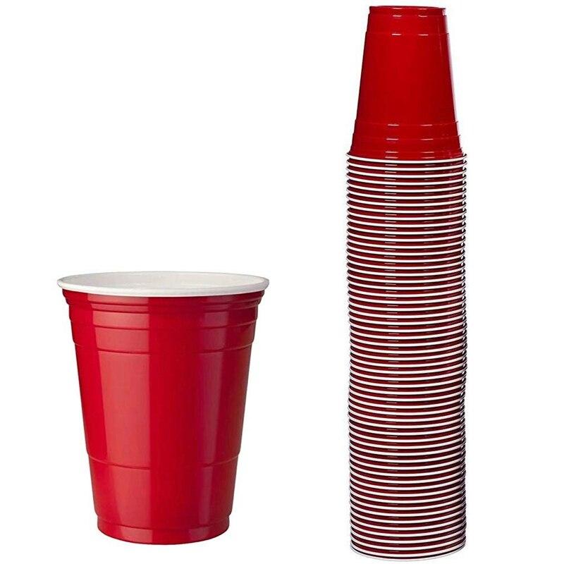 100 قطعة/المجموعة/المجموعة من 450 مللي أحمر كوب بلاستيك للاستخدام مرة واحدة كوب حفلات بار مطعم لوازم الأدوات المنزلية سلع منزلية جودة عالية