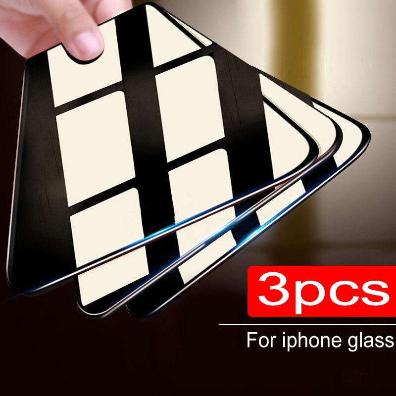 3 piezas de vidrio Protector para iPhone 11 Pro X XR XS Max Protector de pantalla templado para iPhone 7 8 6 6s Plus 11 PRO Max Glass