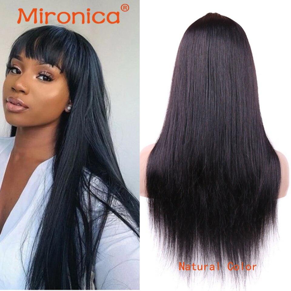 perucas retas brasileiras do cabelo humano com franja para a maquina completa preta