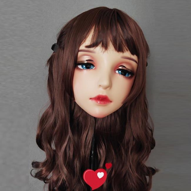 (Yi-01)Female Sweet Girl Resin Half Head Kigurumi BJD Eyes Crossdress Cosplay Japanese Anime Role Lolita Mask With Eyes And Wig
