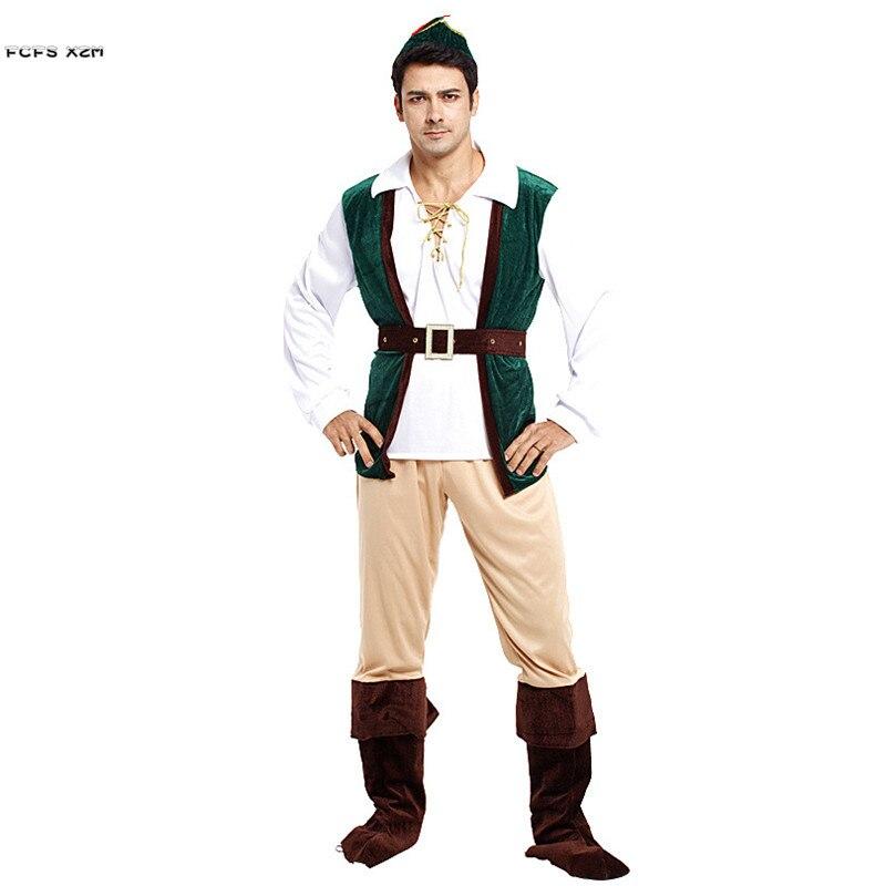 Hommes Robin des bois Cosplay adulte Halloween Pirate chasseur Costumes carnaval pourim défilé scène spectacle discothèque jeu de rôle robe de soirée