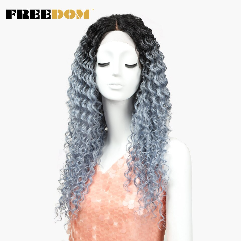 Свободные волнистые кружевные передние парики, синтетические волосы, 26 дюймов, серебристые, серые, Ombre цвета, термостойкие, женские парики для косплея