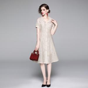 A Line Casual Dresses Women Summer Dress 2021 Vintage Dress For Ladies Buttons sundress Female