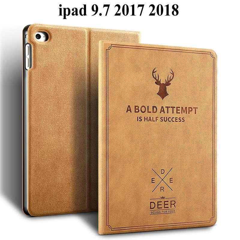 Retro Deer Matte PU Leather Case For Apple iPad 2018/2017 For iPad Air 1 2 3 For iPad Mini 123 Auto Sleep Protective Case Cover