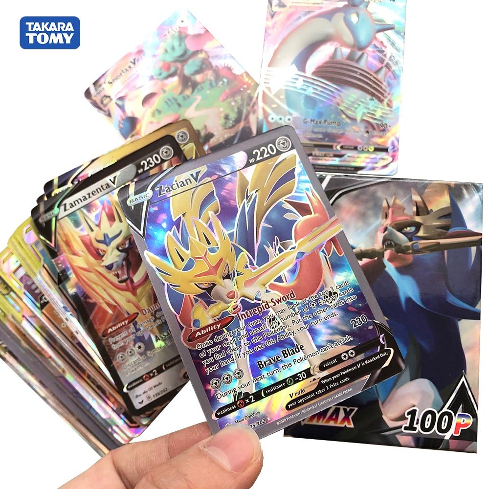 New Pokemon Sun&Moon Sword&Shield 45VMAX55TAG Zacian Zamazenta Shining Collection Game Card For Childrens