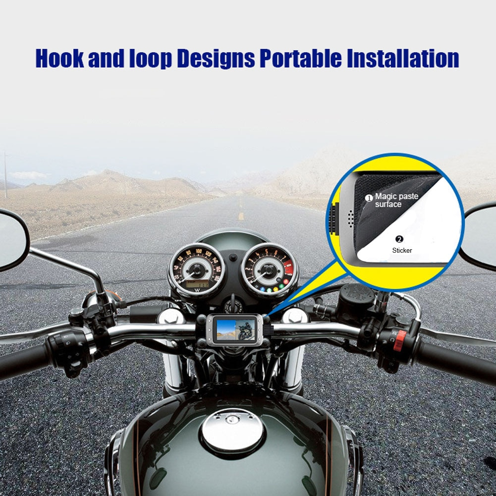 Мотоцикл Dash Cam Камера Водонепроницаемый 1080p Двойной объектив 140 ° Широкий формат 3