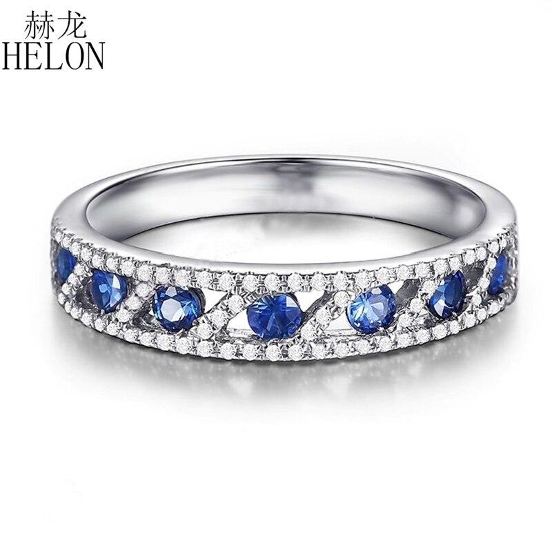 هيلون الصلبة 18K الذهب الأبيض شهادة الجولة 0.75CT الياقوت الطبيعي الماس المشاركة الزفاف الأحجار الكريمة خاتم المرأة هدية مجوهرات