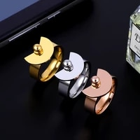 stainless steel fashion gold color ring sector shape charm rings for women wedding party jewelry gift