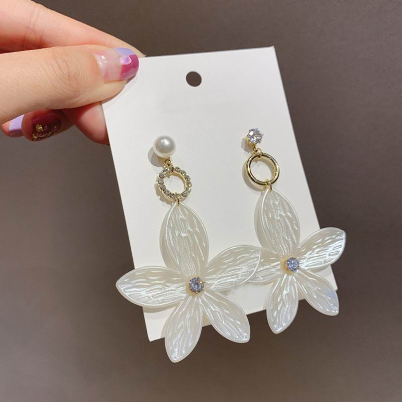 Pendientes coreanos de flores grandes Color blanco joyería de moda 2020 nuevos pendientes colgantes bohemios al por mayor
