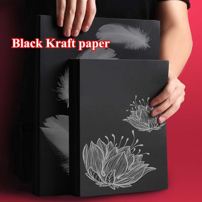Многоцелевая черная крафт-бумага 8k A4, сделай сам, изготовление карт, крафт-бумага, толстая бумажная доска, картон
