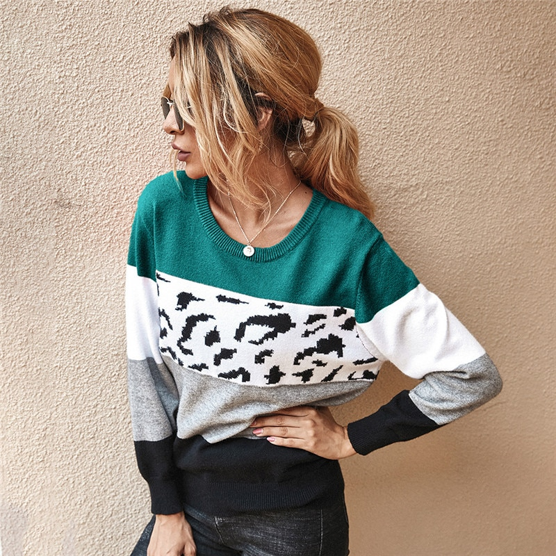 Autumn Winter Women's Sweaters O-Neck Loose Knitted Jumpers Long Sleeves Leopard Splice Sweater Oversize Ladies Pullover Tops black one shoulder long sleeves loose sweaters