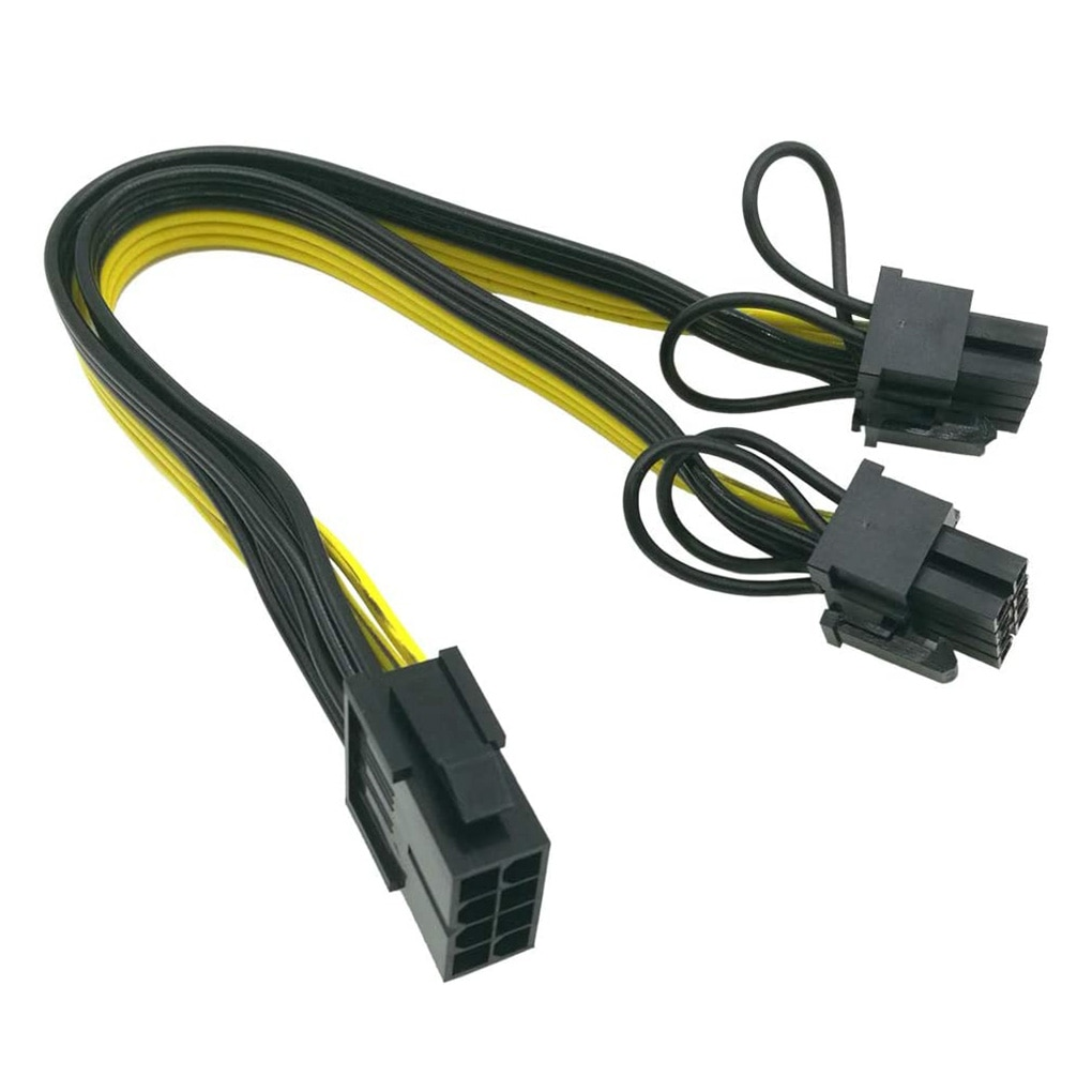 6 12pcs pci e adapter cable 6pin to dual 8pin splitter cable computer accessories pci e converter cord dropshipping supported PCI-E 6-pin to Dual 6+2-pin (6-pin/8-pin) Power Splitter Cable Graphics Card PCIE PCI Express 6Pin to Dual 8Pin Power Cable