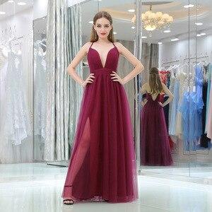 Sexy Burgundy Evening Party Dresses Long High Split Dubai Evening Dress Formal Dress Women Elegant Tull V-neck Plus Size Dresses