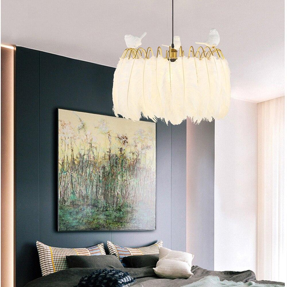 Bird Feather pendant lamp Nordic modern hanging lights for Living Room Bedroom Home Decoration Creative lighting