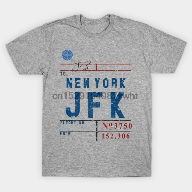 Camiseta masculina vintage linha aérea tag série jfk aeroporto de nova iorque por designedforflight camiseta feminina