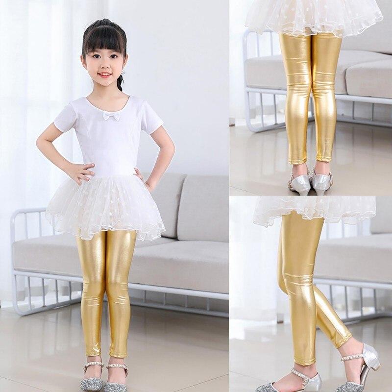 Moda bebé niña metálico brillante pantalones pitillo Casual Cool Pants Cropped Pants ropa para niños
